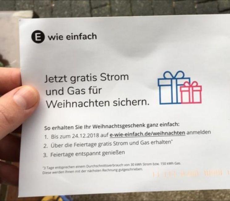 Zum Weihnachtsfest gratis Strom und Gas für e wie einfach kunden