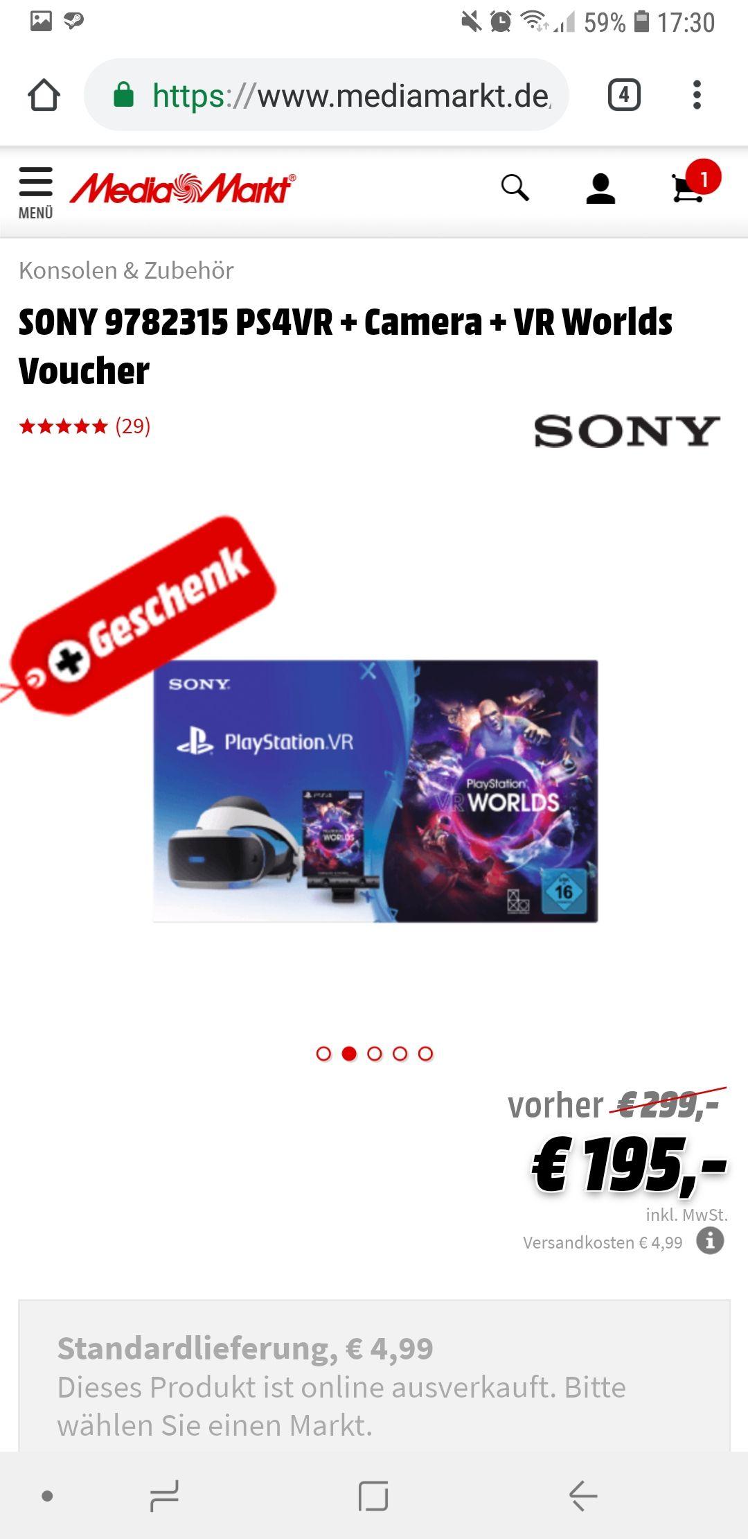 SONY  PS4VR + Camera + VR Worlds + Astro Bot//Nur Marktabholung
