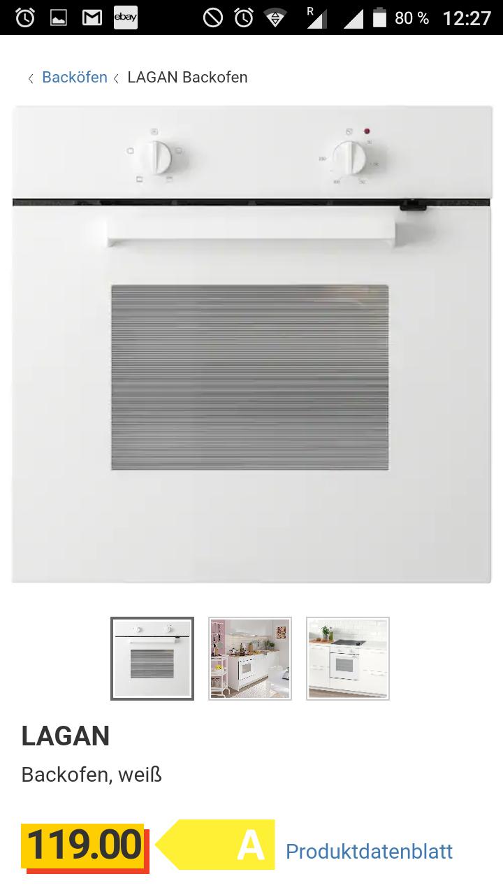 Ikea Einbaubackofen Lagan 119 Euro oder Görlig (5 Jahre Garantie) 149 Euro