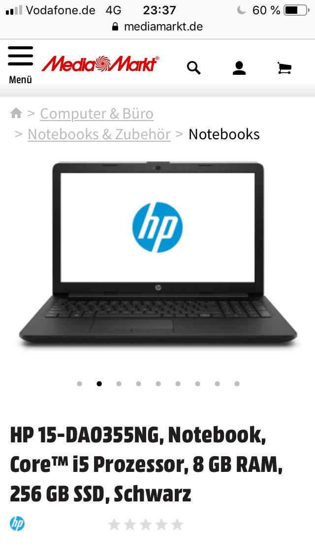 HP 15-DA0355NG, Notebook, Core™ i5 Prozessor, 8 GB RAM, 256 GB SSD, Schwarz für 499€ bei Media Markt