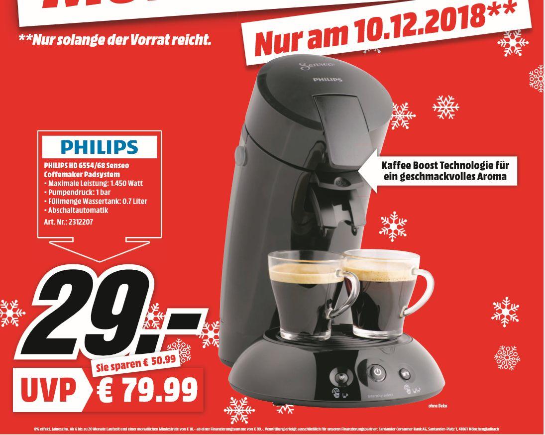 [Regional Mediamarkt Papenburg-Tagesangebot am 10.12] Philips Hd6554/68 Senseo Original Kaffeepadmaschine schwarz für 29,-€