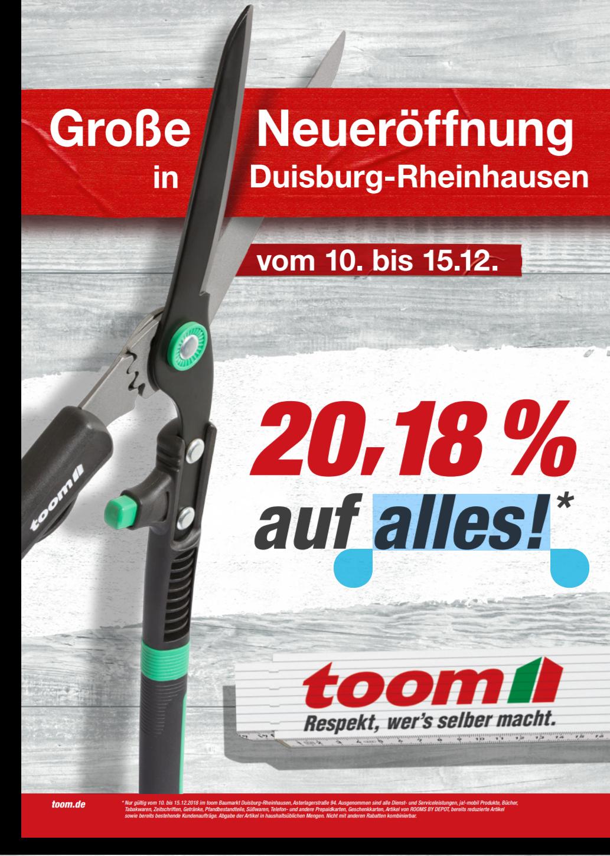 [lokal Duisburg] Toom Neueröffnung - 20,18% auf alles [Bauhaus TPG möglich?!]