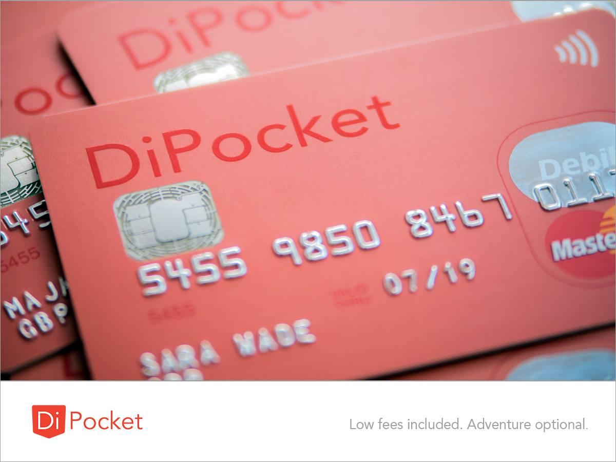 DiPocket - Kostenlose Prepaid Mastercard in EUR, PLN, GBP oder US$ mit IBAN ohne Schufa. Auch für Teenager von 13-18 Jahren.
