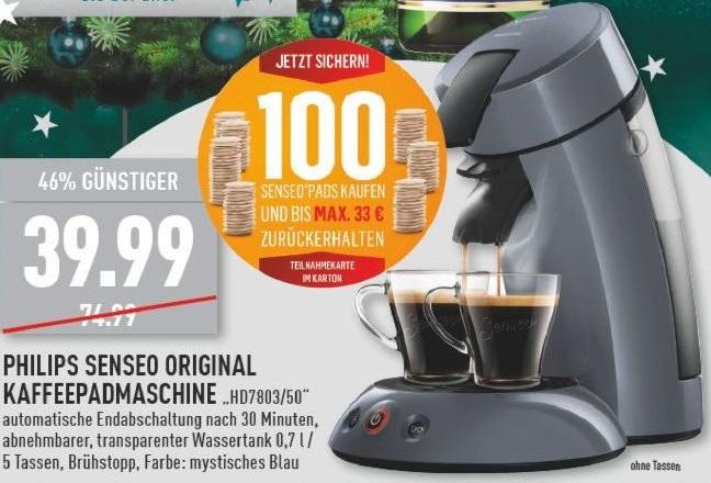 Philips Senseo Kaffeepadmaschine HD7803/50 39,99€ + Geld zurück für 100 Kaffeepads bei Marktkauf