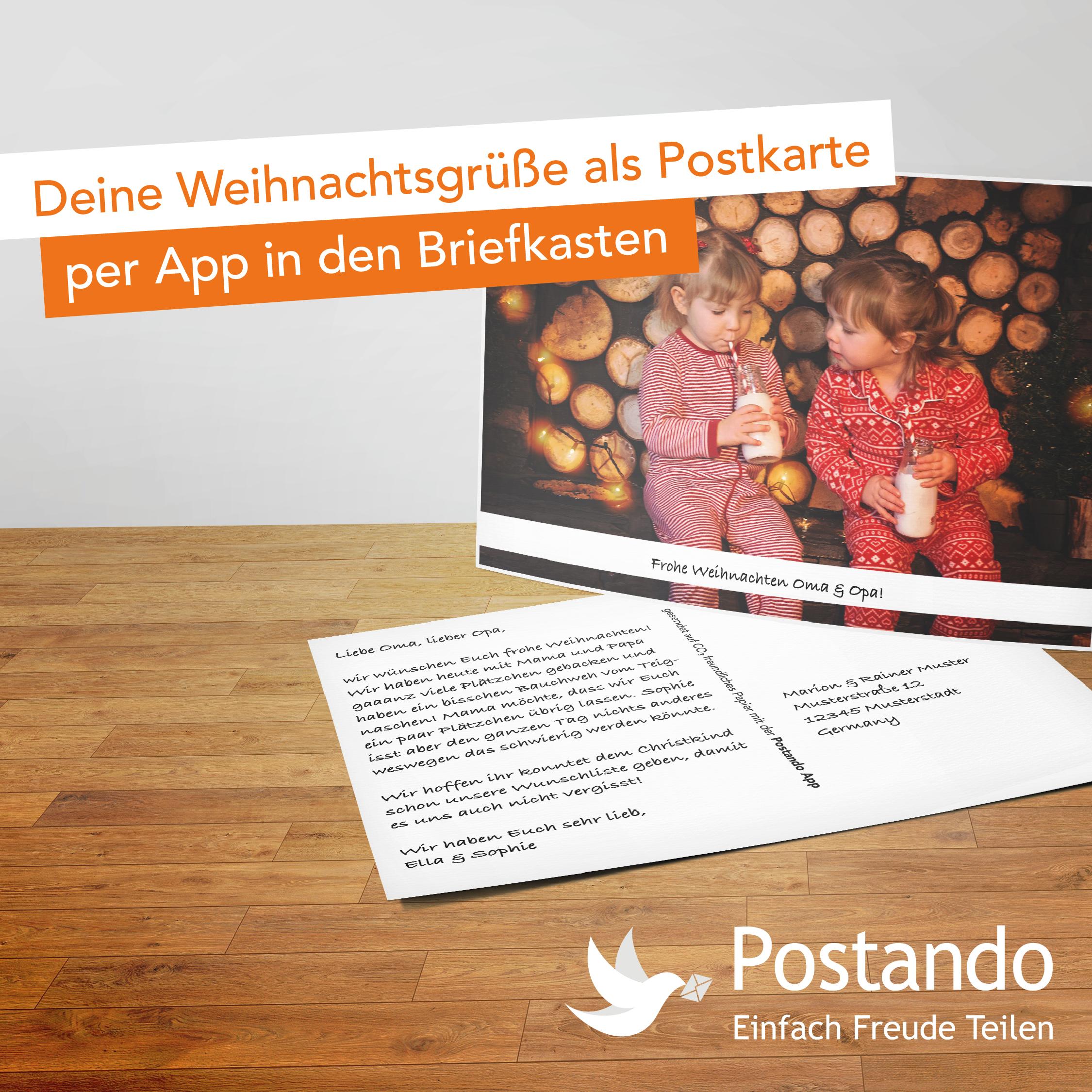 Gratis Weihnachtskarte mit eigenen Fotos versenden [Postando App Android & iOS]
