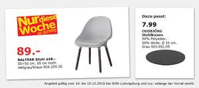 (IKEA Ludwigsburg) BALTSAR Stuhl, hellgrau, braun 89€ statt 119€
