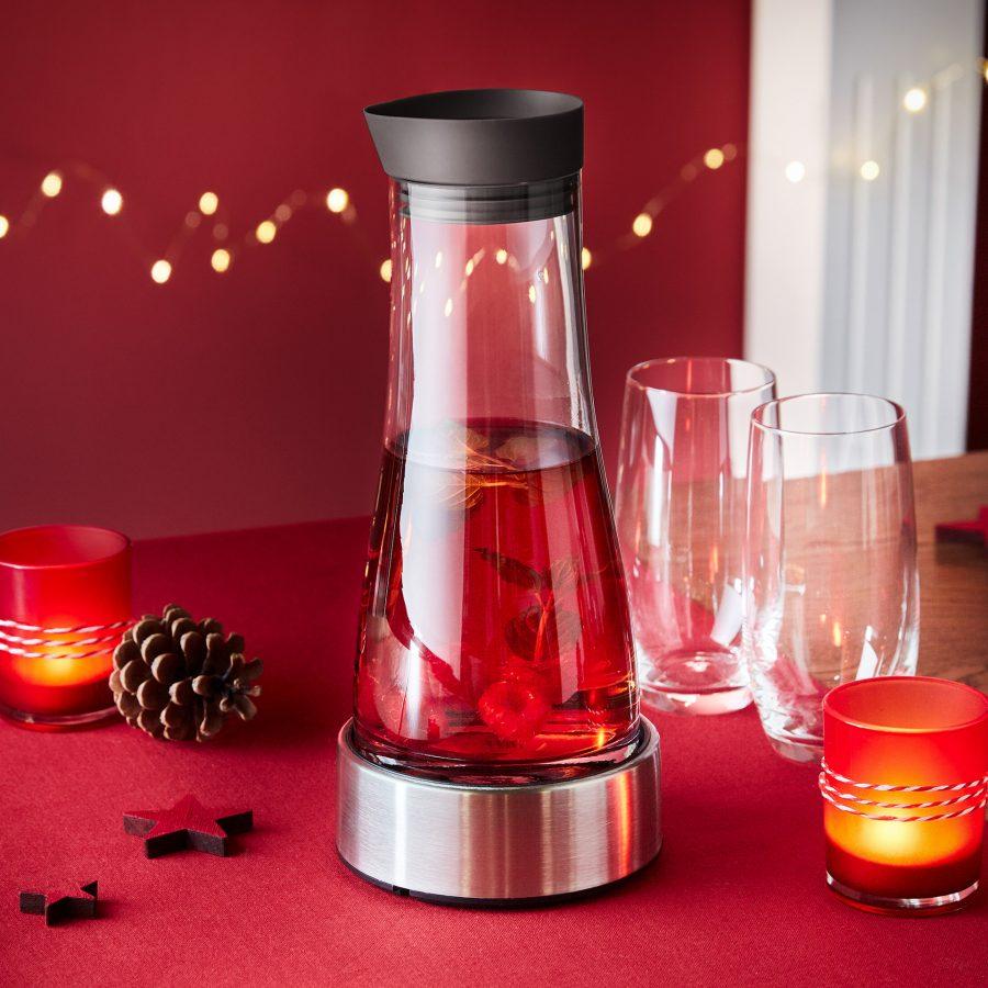 Glaskaraffe mit Kühlstation, 1 Liter, Spülmaschinenfest [Aldi-Nord]