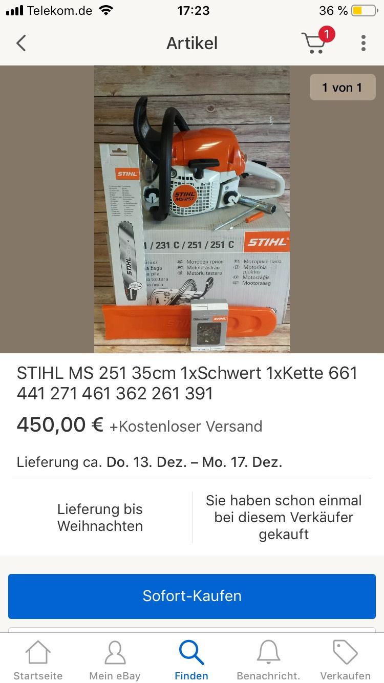 Stihl MS 251 / 35cm Motorsäge/Kettensäge - 405€ Inkl. Versand
