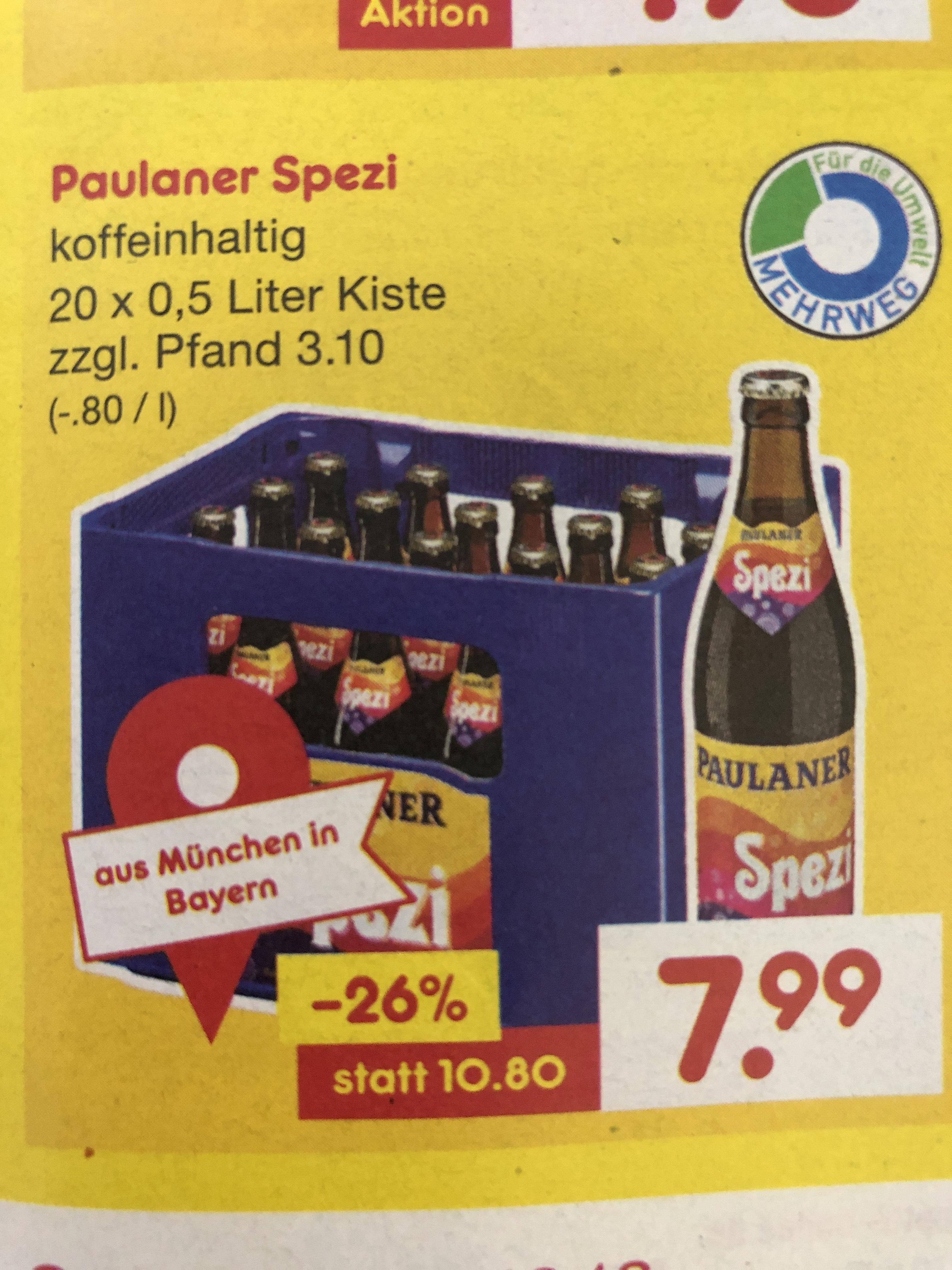[Netto MD Lokal] Paulaner Spezi 20x0,5l für 7,99 zzgl. Pfand