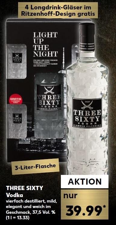 Three Sixty Vodka 3l + 4 Gläser für € 39,99 (ab 13.12./ Kaufland)