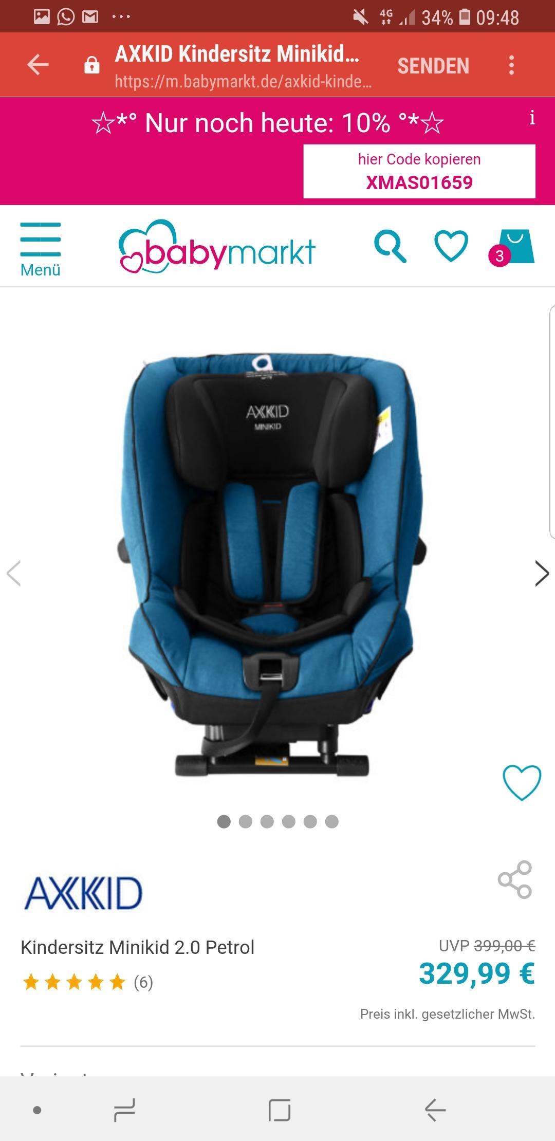 Top Kindersitz im Tagesangebot bei Babymarkt Axkid Minikid 2.0 Reboarder