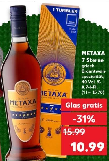 Metaxa 7 Sterne Amphore + Gratisglas für 10,99 € @ Kaufland ab 17.12.