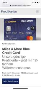 Miles & More Blue kredit Card(Neukunden)