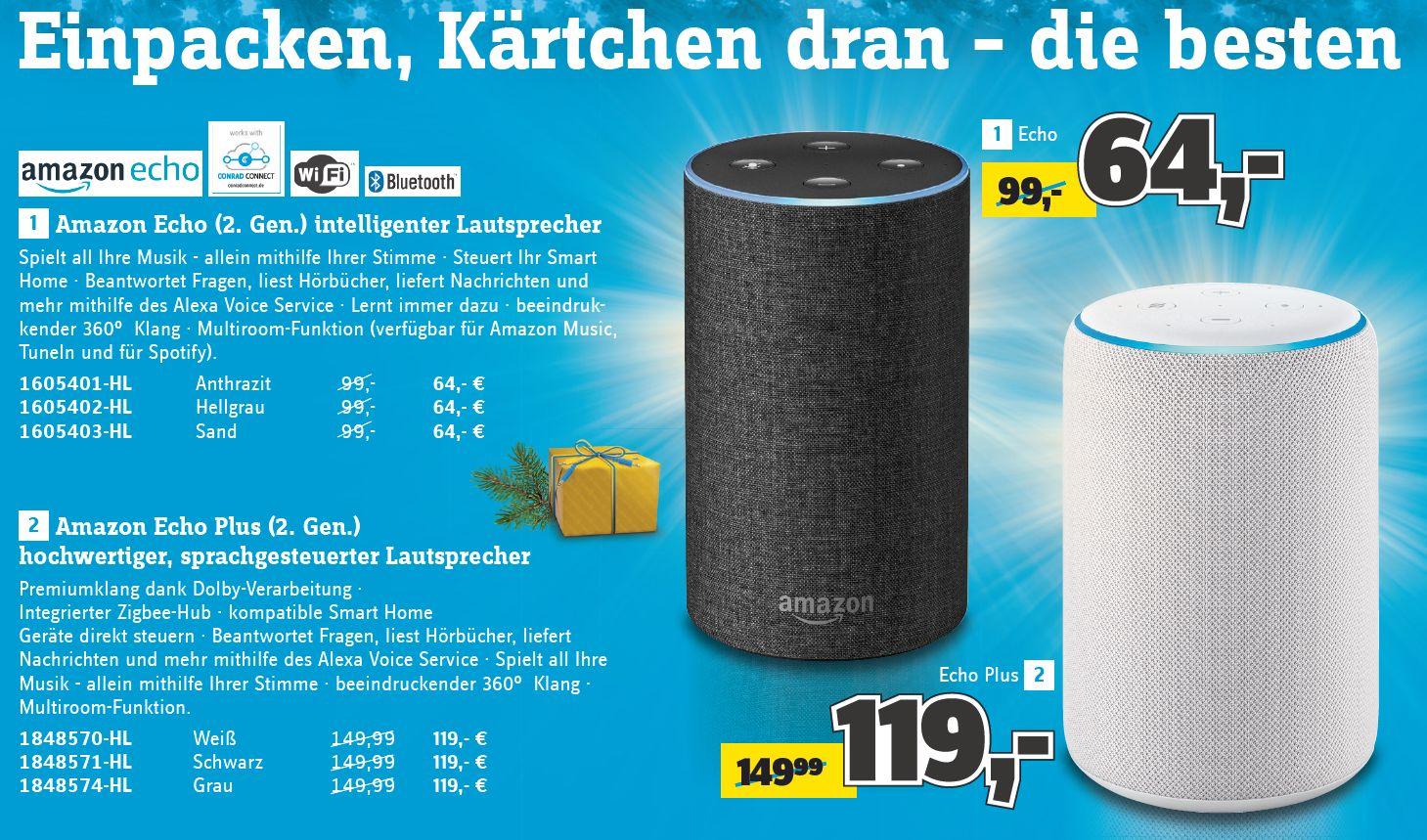 [Conrad] Amazon Echo (2. Generation) für 64,-€ // Amazon Echo Plus (2. Generation) für 119,-€