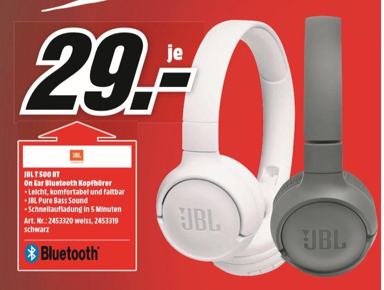 [Regional Mediamarkt Brandenburg a.d.H] JBL Tune500BT On-ear Kabelloses Headset Bluetooth Schwarz  oder weiß für je 29,-€