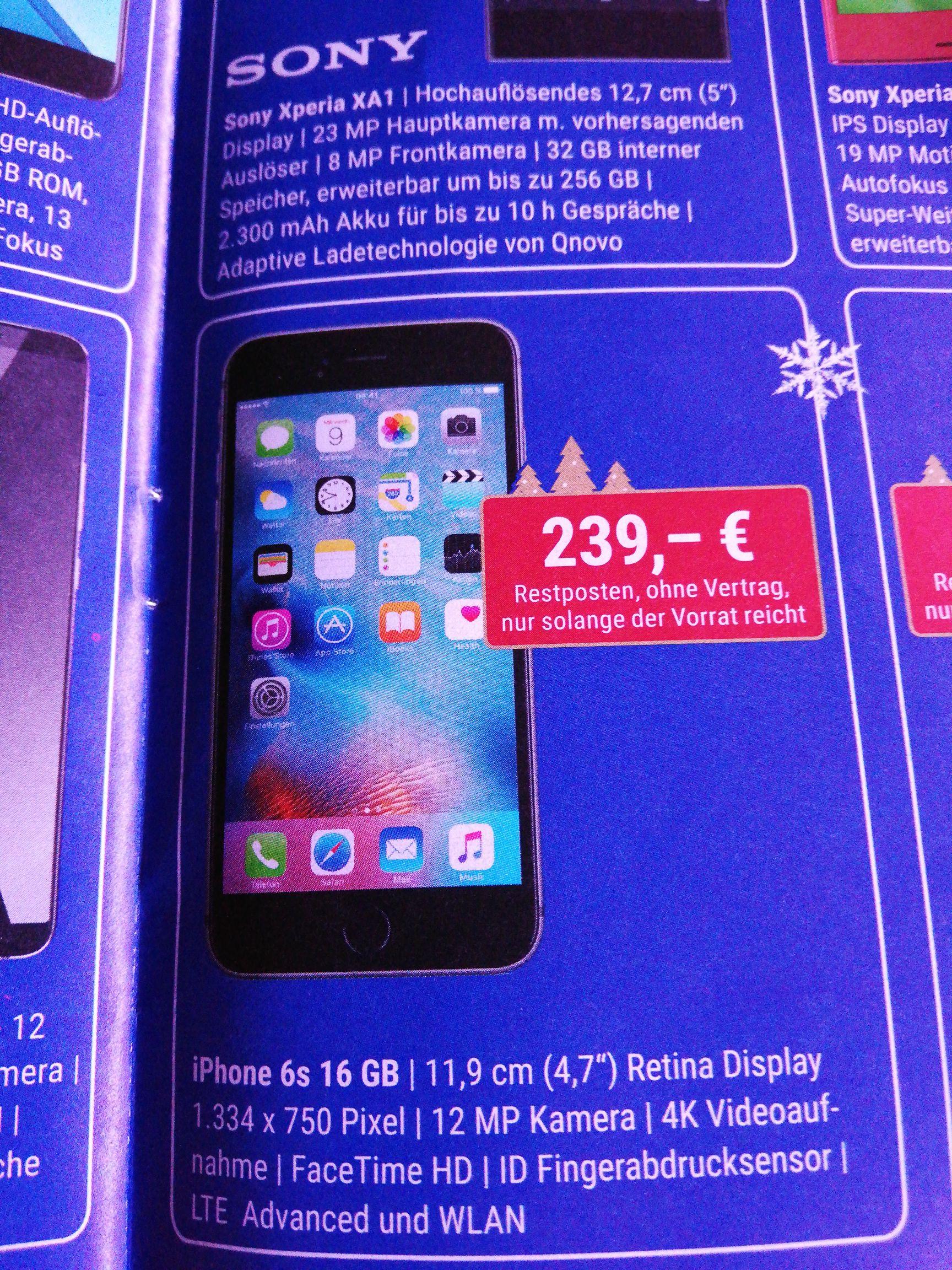 [LOKAL Bad Kissingen/Bad Neustadt Telefonladen] IPhone 6s 16GB für 239€ Nur solange der Vorrat reicht.