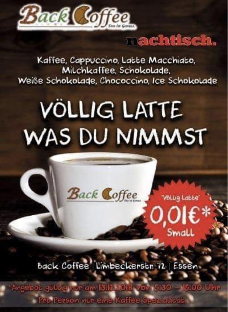 [Lokal Essen] Back Coffee Essen Donut&Kaffee für nur 1 Cent