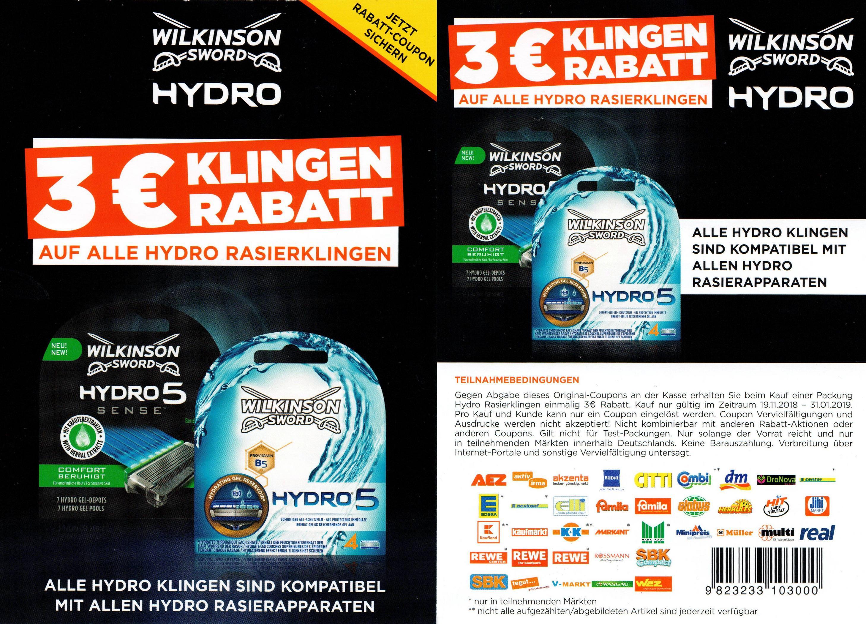 3€ Sofort-Rabatt Coupon für alle Wilkinson Hydro Rasierklingen bis 31.01.2019
