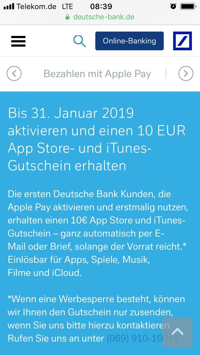 Deutsche Bank: Bei Apple Pay Aktivierung 10€ iTunes-Gutschein erhalten