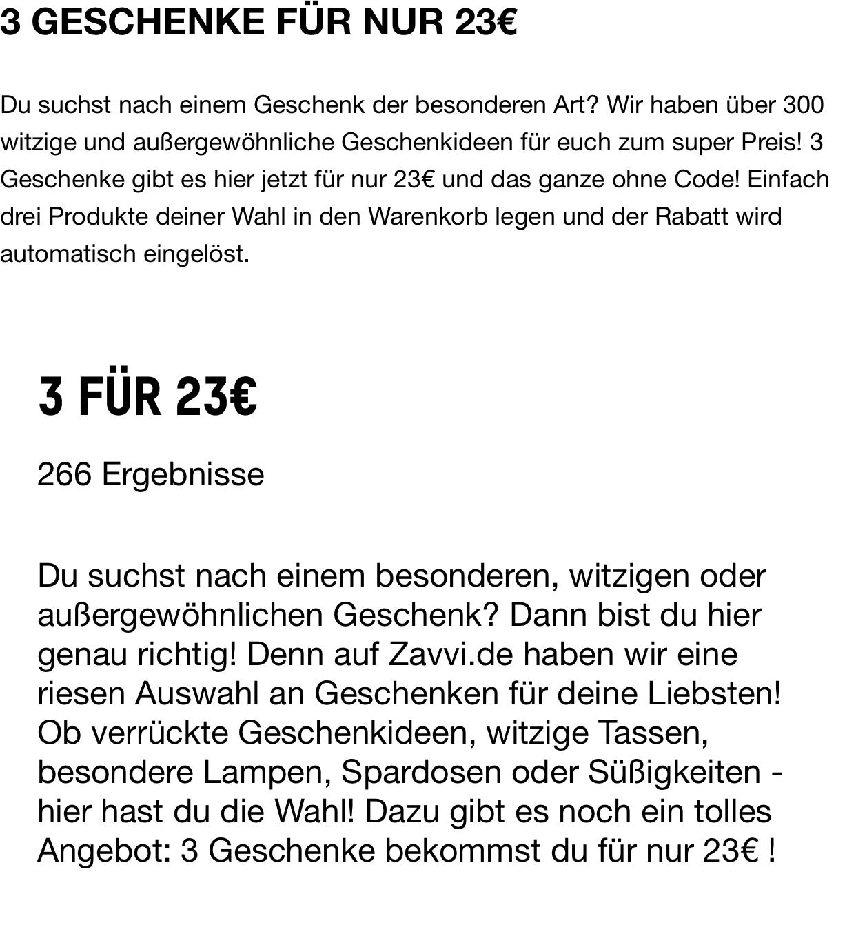 Zavi.de 3 Artikel für 23€