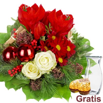Blumenstrauß Weihnachten inkl. Vase + 2 Ferrero Rocher