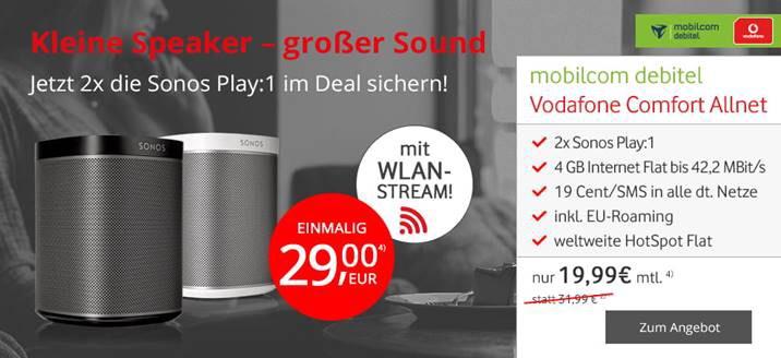 4GB Allnet Flat mit 2x Sonos Play:1 für effektiv 8,20€