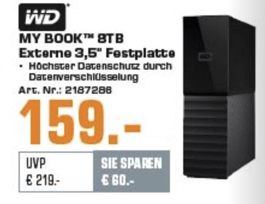 Western Digital WD My Book 8TB, USB 3.0 Micro-B Externe Festplatte + 25€ Erlebnis-Gutschein von Jochen Schweizer