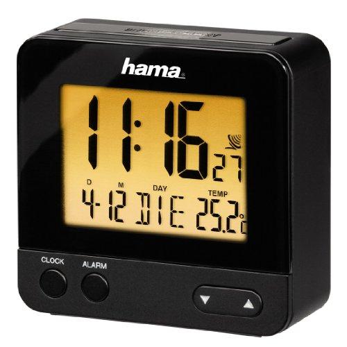 Hama Funk Wecker RC540 oder RC550 (schwarz, sensorgesteuerte Nachtlichtfunktion, Schlummerfunktion, Temperatur- und Datumsanzeige) [Prime]