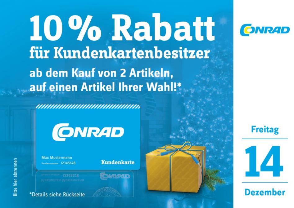 10% Rabatt bei Conrad (Kundenkarteninhaber) - möglicherweise nur Offline