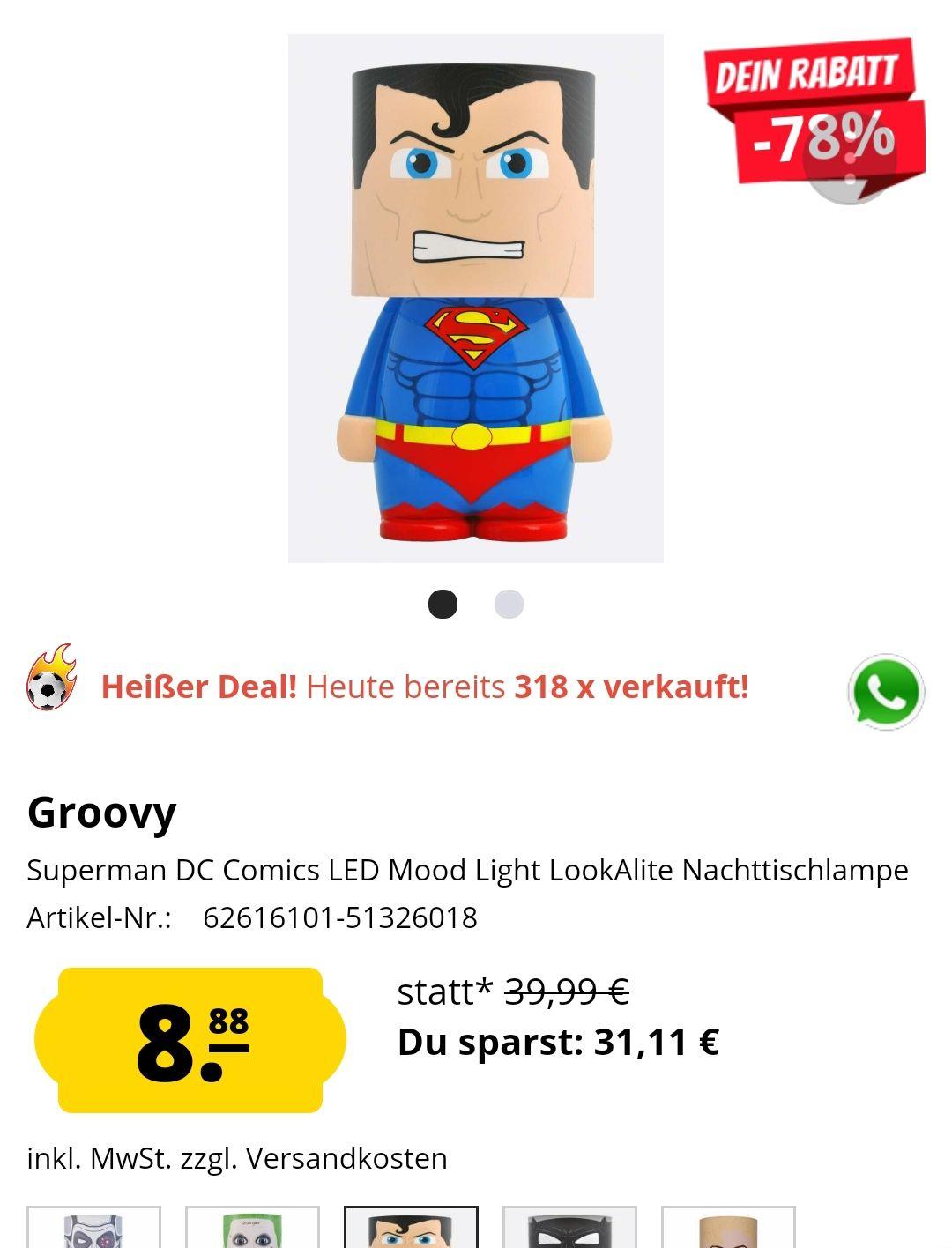 Superman DC Comics LED Mood Light LookAlite Nachttischlampe Incl Versand