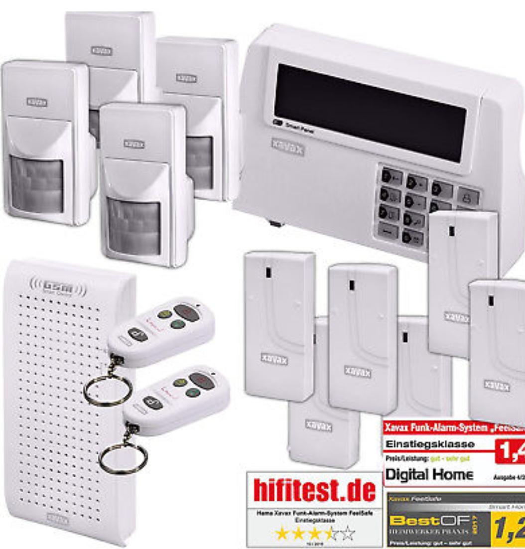 Hama Xavax Funk Alarm Anlage XXL-Set, 6x Türsensor, 4x Bewegungsmelder, 2x Fernbedienungen, Sirene, GSM-Modul, 120 dB