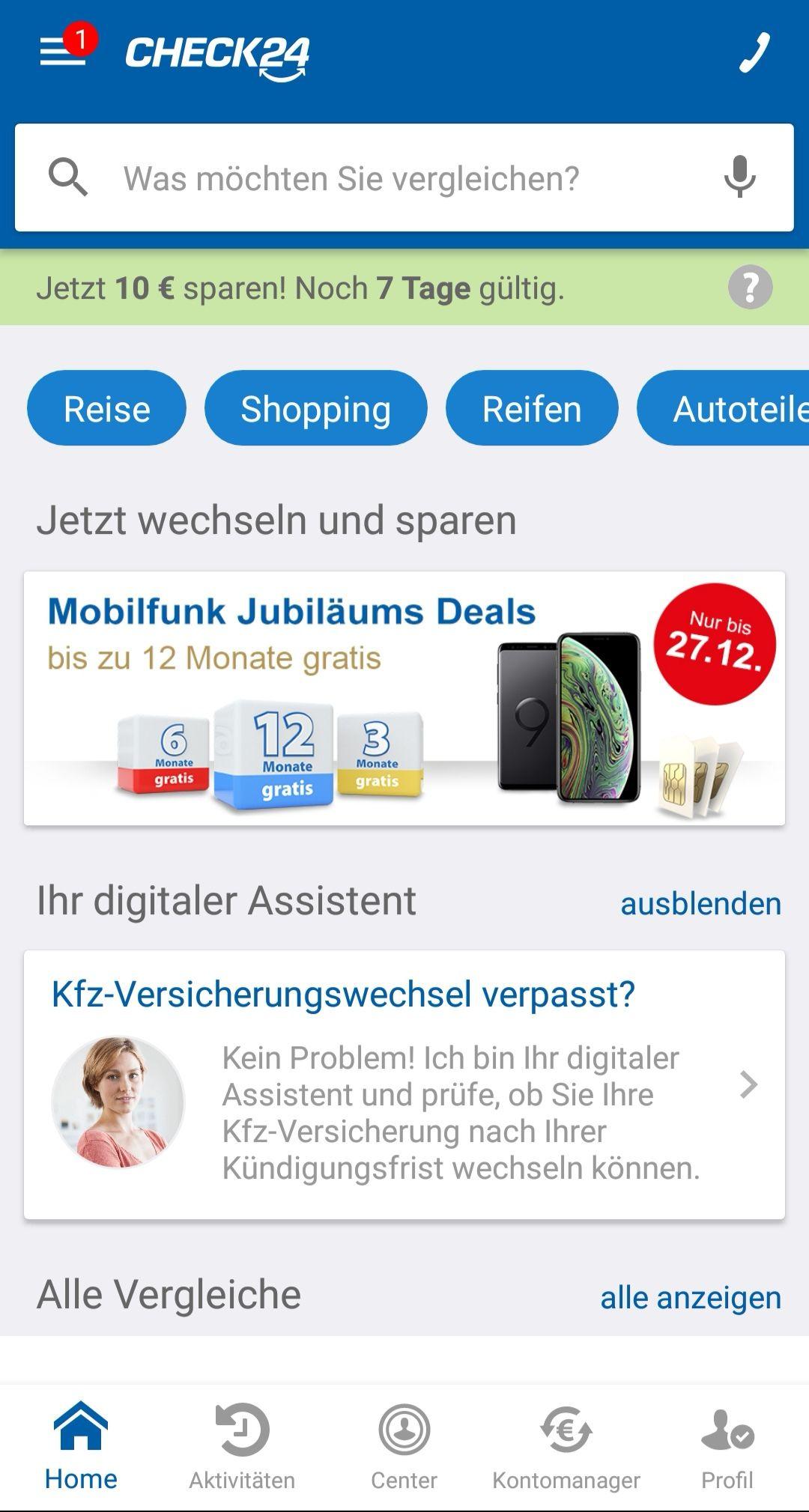 Check24 10€ Euro Rabatt in der App