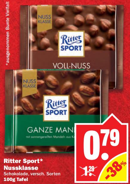 Ritter Sport Nussklasse (100g) in versch. Sorten für 0,79€ bei NP Discount am 22.12.