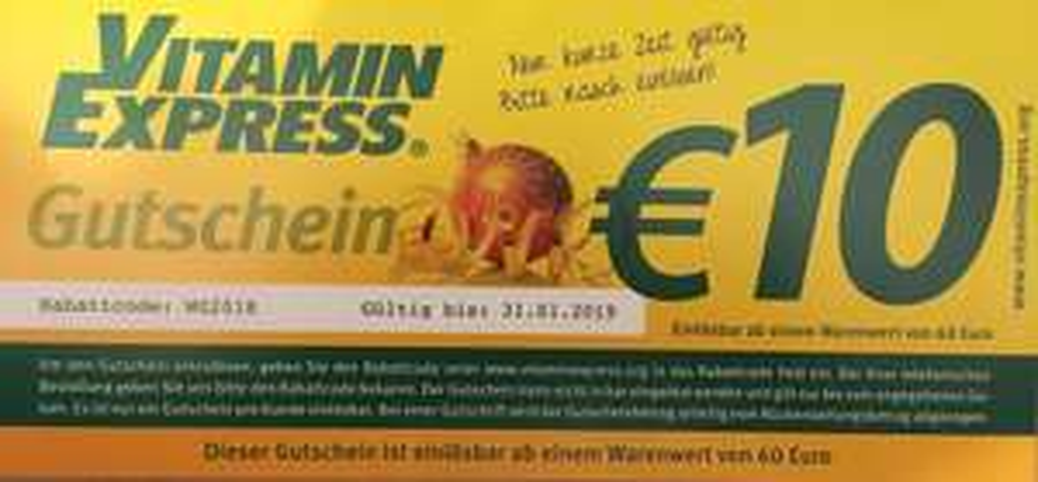Vitamin Express 10€ Rabatt bei 60€ Einkaif