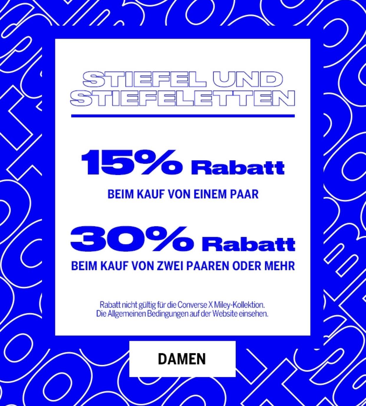 Bershka 15% und 30% Rabatt beim Kauf von Stiefel und Stiefeletten, und ausgewählten Artikeln [gratis Versand]