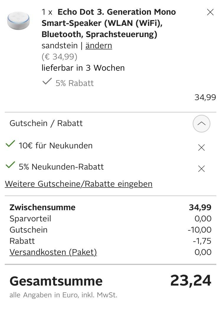 Echo Dot 3 Otto Neukunden Mydealzde