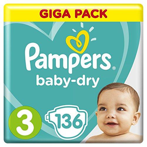 Pampers Baby-Dry Windeln Größe 3 (6–10 kg) 136 Stück