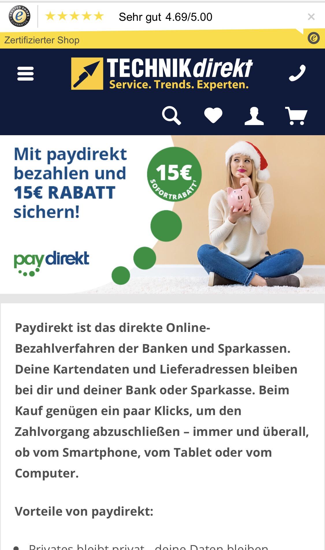 [Technikdirekt.de] Paydirekt 15 € Direktabzug Mindestbestellwert 50 €