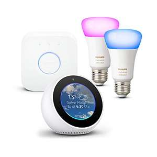 Amazon Echo Spot, Weiß + Philips Hue White und Color Ambiance E27 LED Lampe Starter Set, 2 Lampen