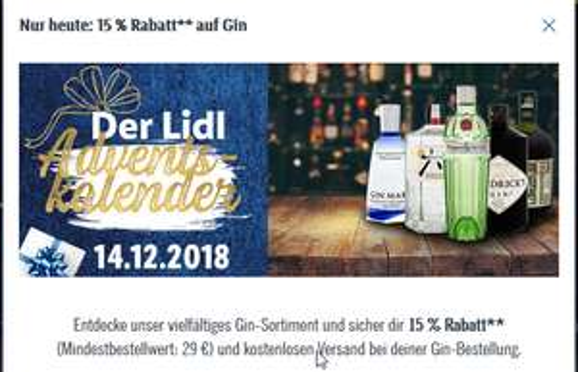 15% Rabatt und versandkostenfrei für Gin ab 29€ MBW [LIDL Onlineshop]