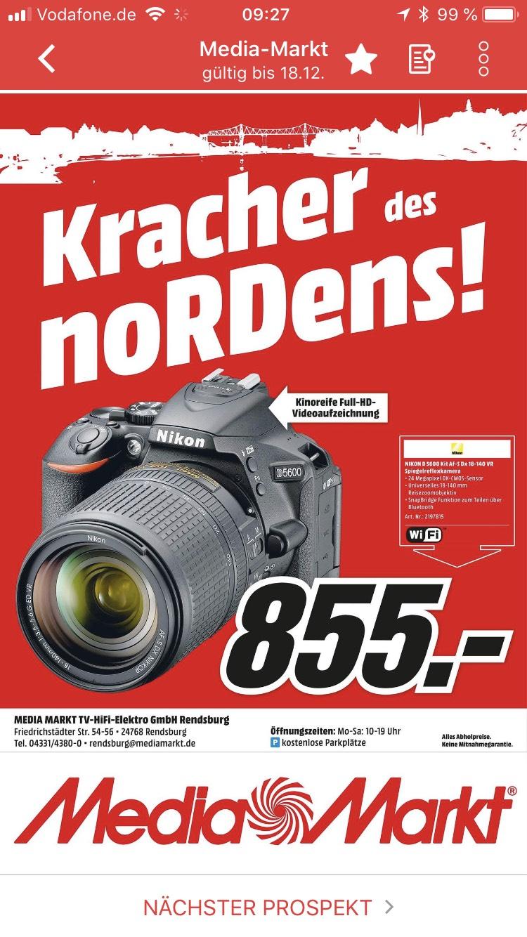 Nikon D5600 +18-140mm VR Lokal MediaMarkt Rendsburg