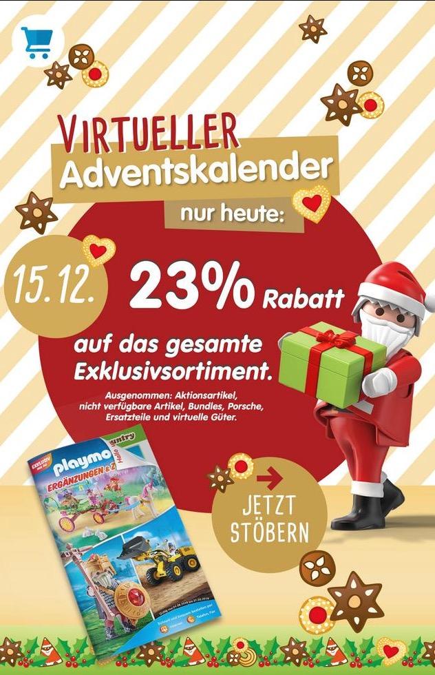 23% Rabatt auf das gesamte Exklusivsortiment bei Playmobil.de