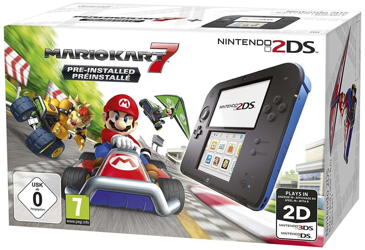 Nintendo 2DS Konsole schwarz blau inkl. Mario Kart 7