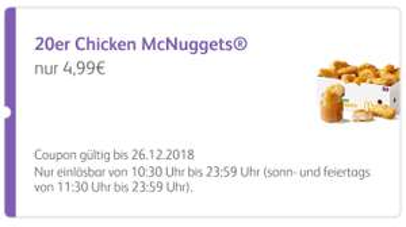 20er Chicken McNuggets + 3 Saucen für 4,99€ (App Coupon McDonalds)