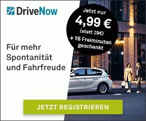 4,99€ Anmeldegebühr + 15 Freiminuten bei DriveNow statt sonst 29€