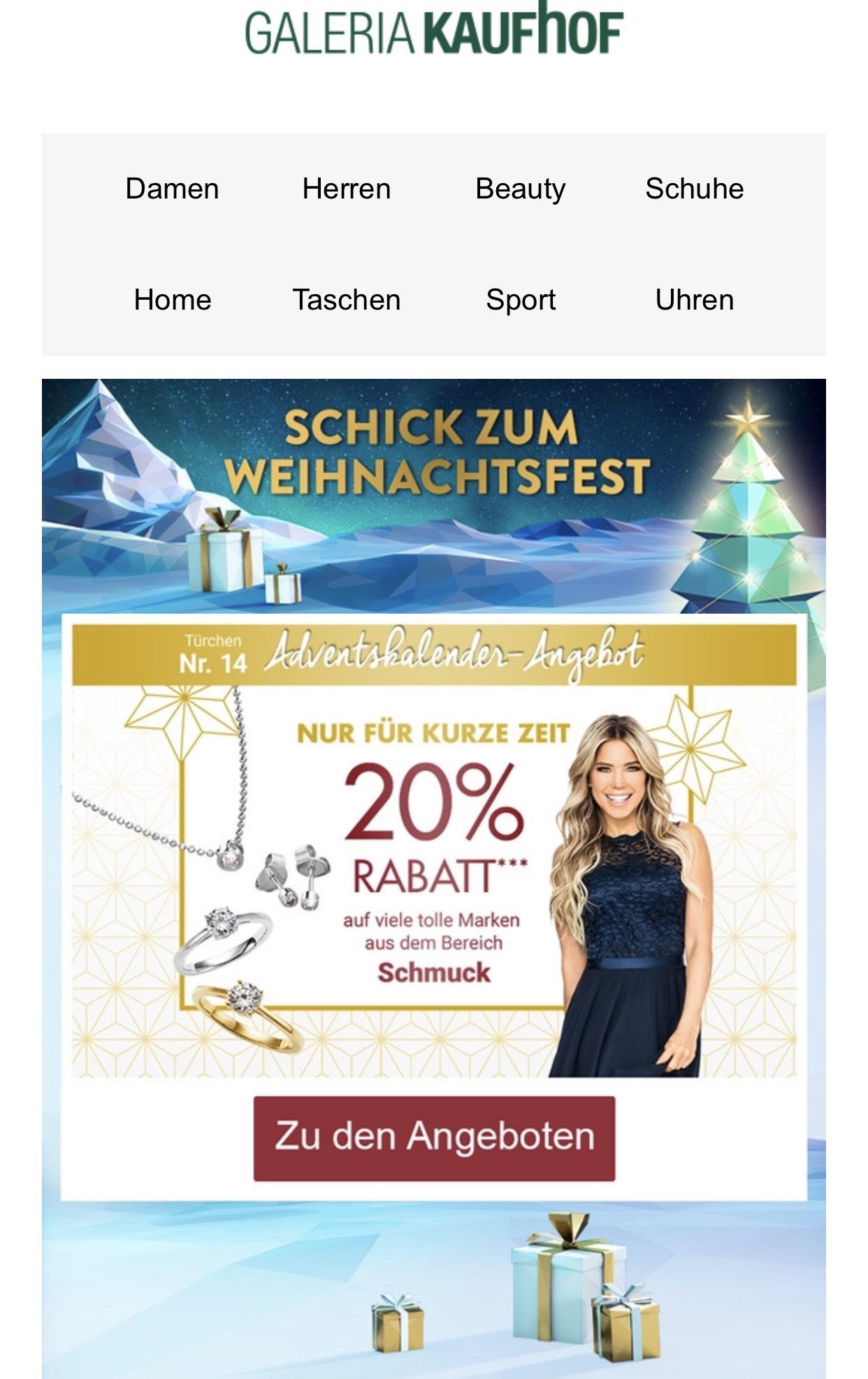 Galeria Kaufhof 20% auf Schmuck, Sephora Make Up und Pflege. Und 15% auf fast alle Sortimente