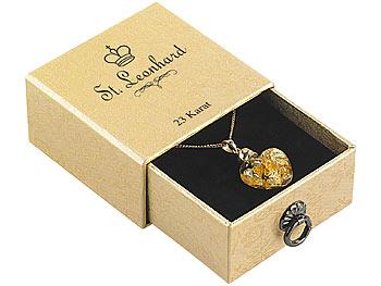 [pearl.de] Glas-Herzanhänger mit 23K-Blattgold inkl. vergoldeter Kette