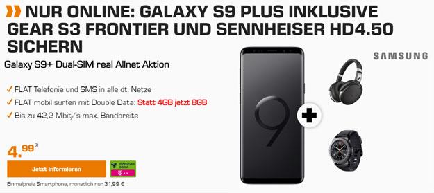 SATURN Aktion MD Telekom Allnet 31,99€/Monat Tel. + SMS, 8GB (kein LTE!) Samsung S9 Plus DuoS + Sennheiser HD 4.50 + Galaxy S3 frontier