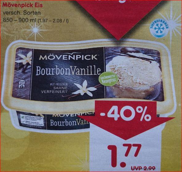Mövenpick Eis, verschiedene Sorten, 850-900ml für 1,77 Euro / Jacobs Kaffeebohnen 1 Kg für 7,77 Euro. [ Netto MD ]