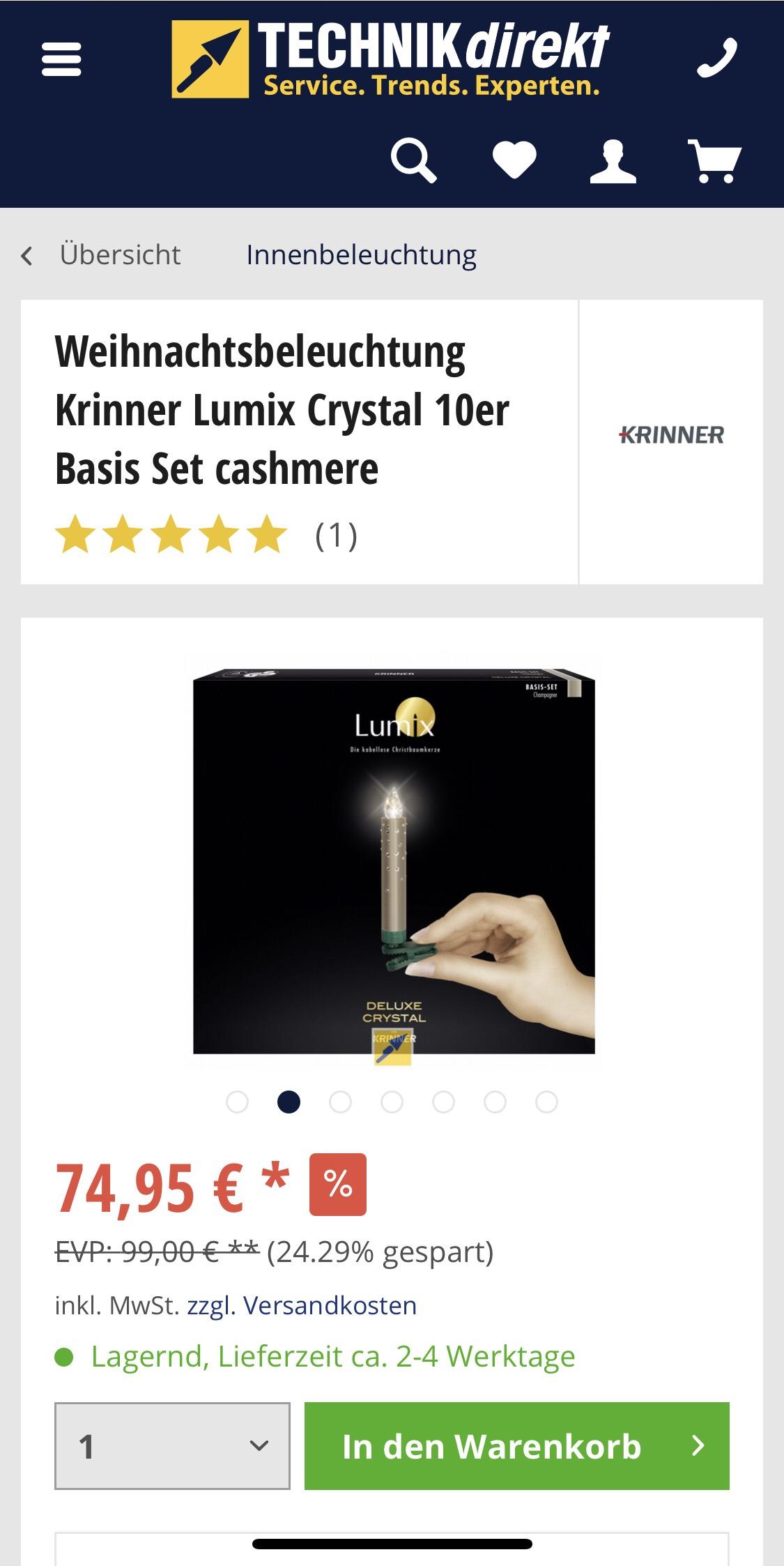 [Technikdirekt.de] Krinner Beleuchtung Lumix Deluxe Crystal 10er Basis Set cashmere, kabellos - 66,94 € Paydirekt Aktion 15€j
